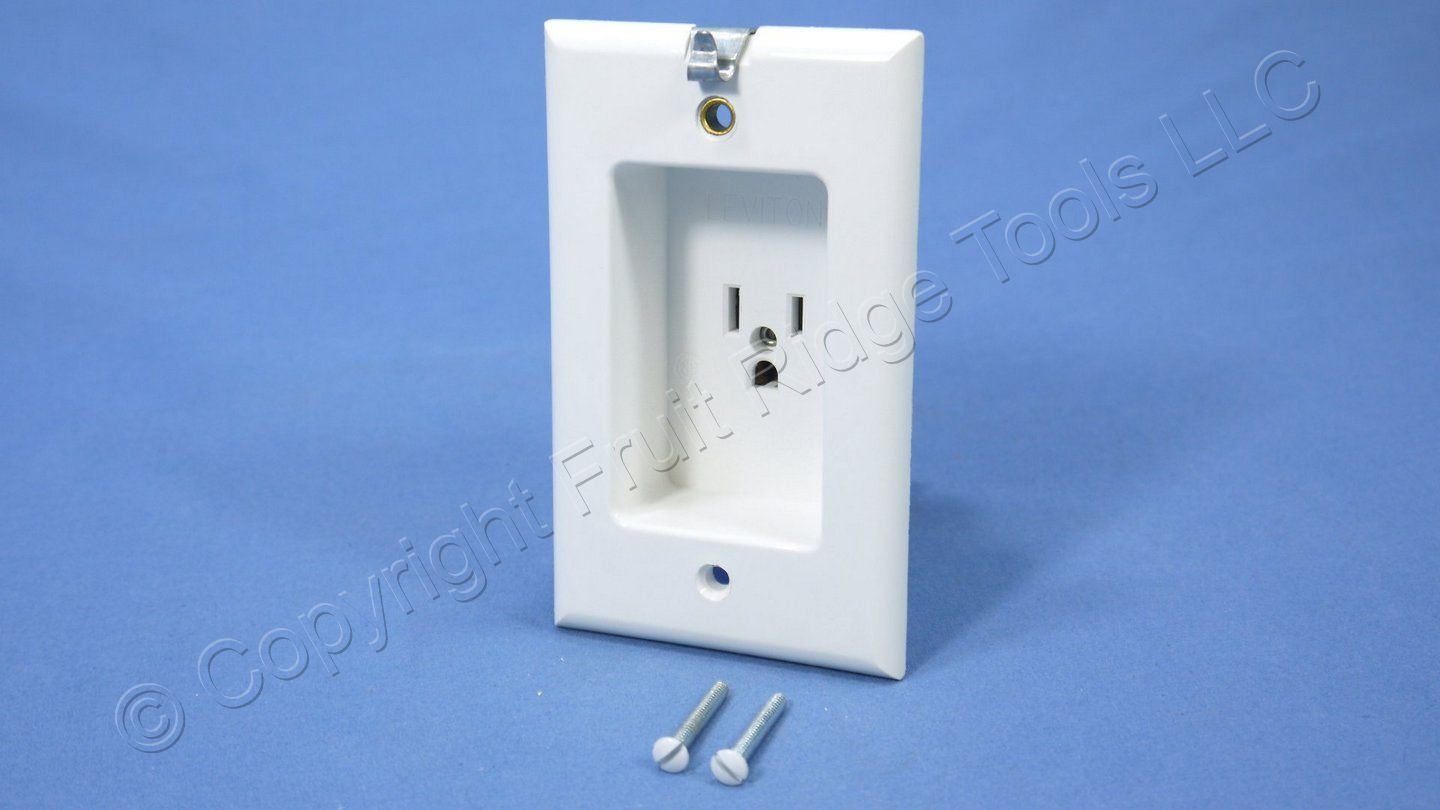 Leviton White Clock Hanger Recessed Outlet Receptacle 15A NEMA 5-15R ...