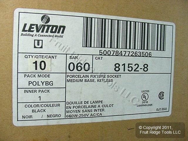 Leviton Porcelain Light Sockets Flanged Lamp Holder Medium Base Keyless 8152-8