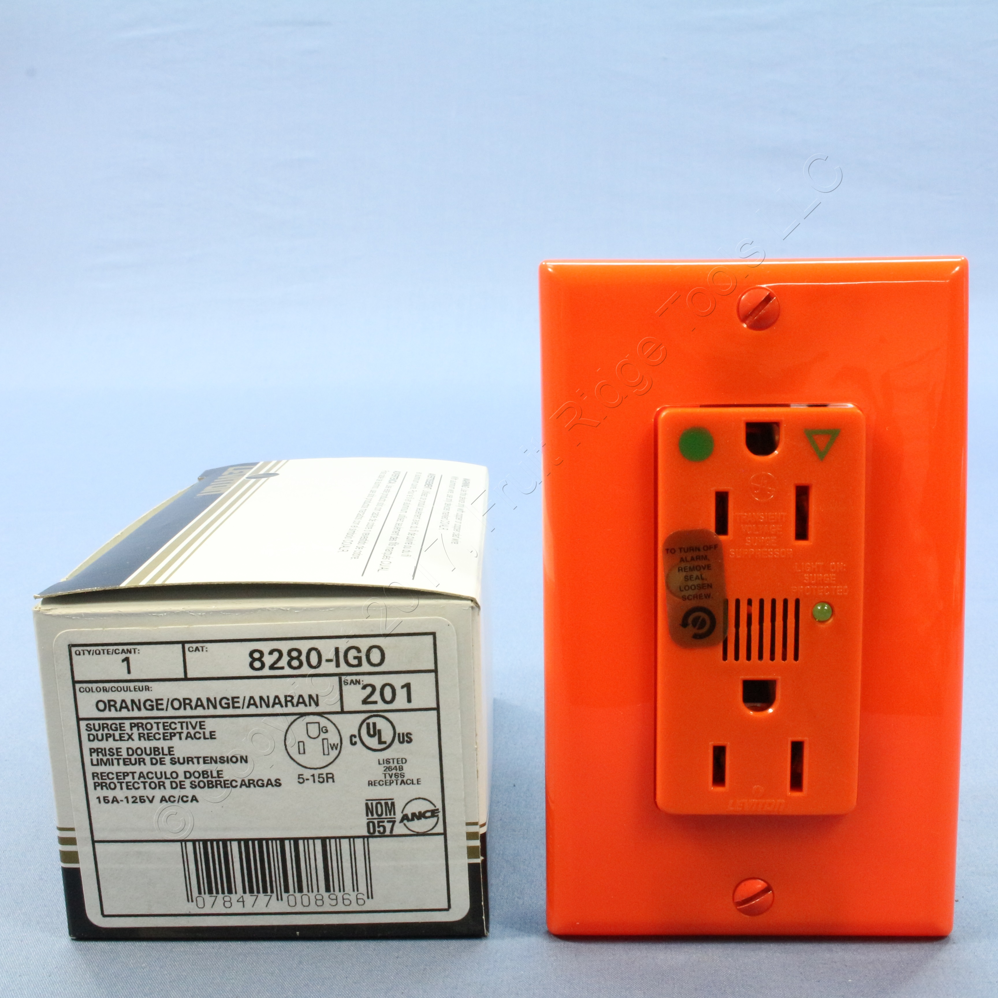 Leviton Orange Iso Ground Hospital Surge Receptacle Outlet Alarm 15a Wiring Devices Stock Photo Picture 1 Of 5