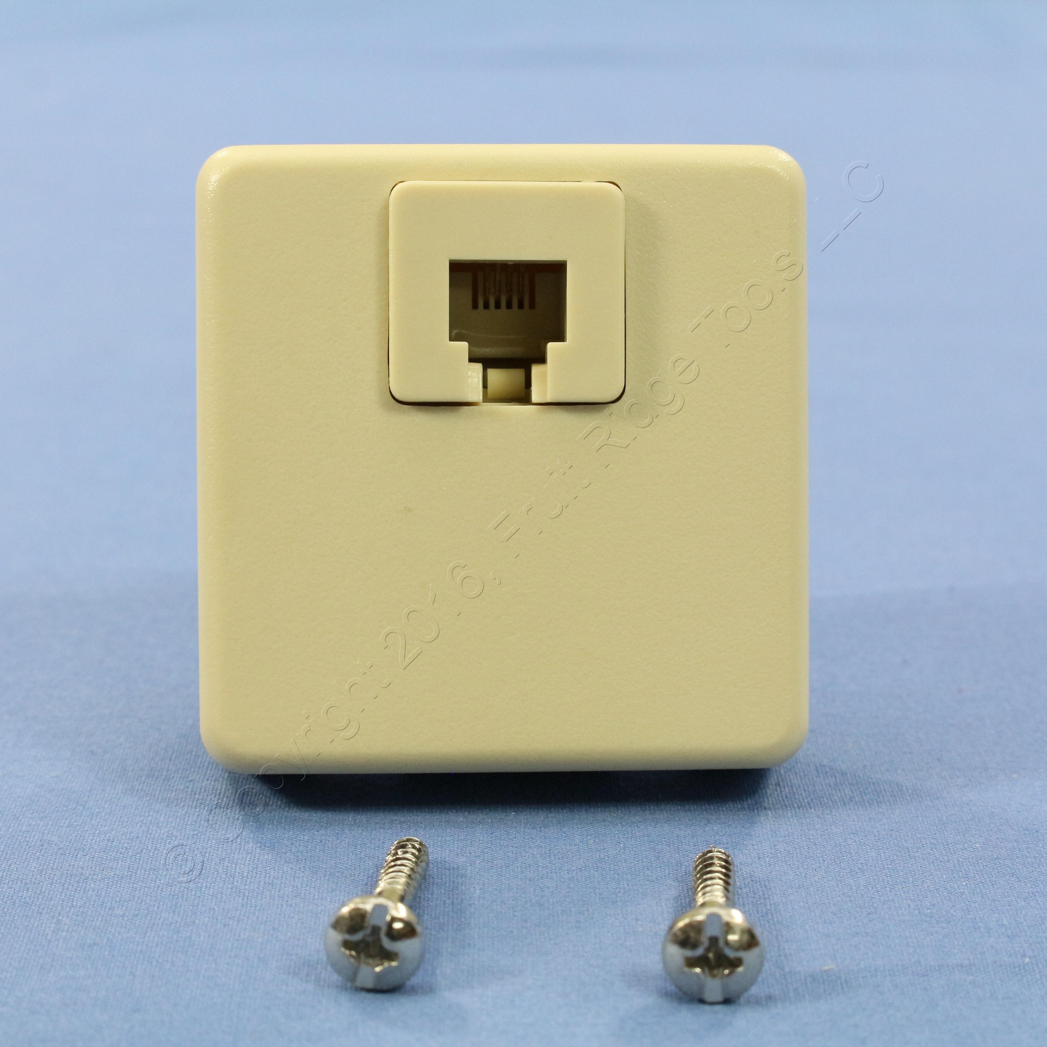 Leviton Ivory 4-Wire Surface Mount Phone Jack Telephone C0245-I | eBay