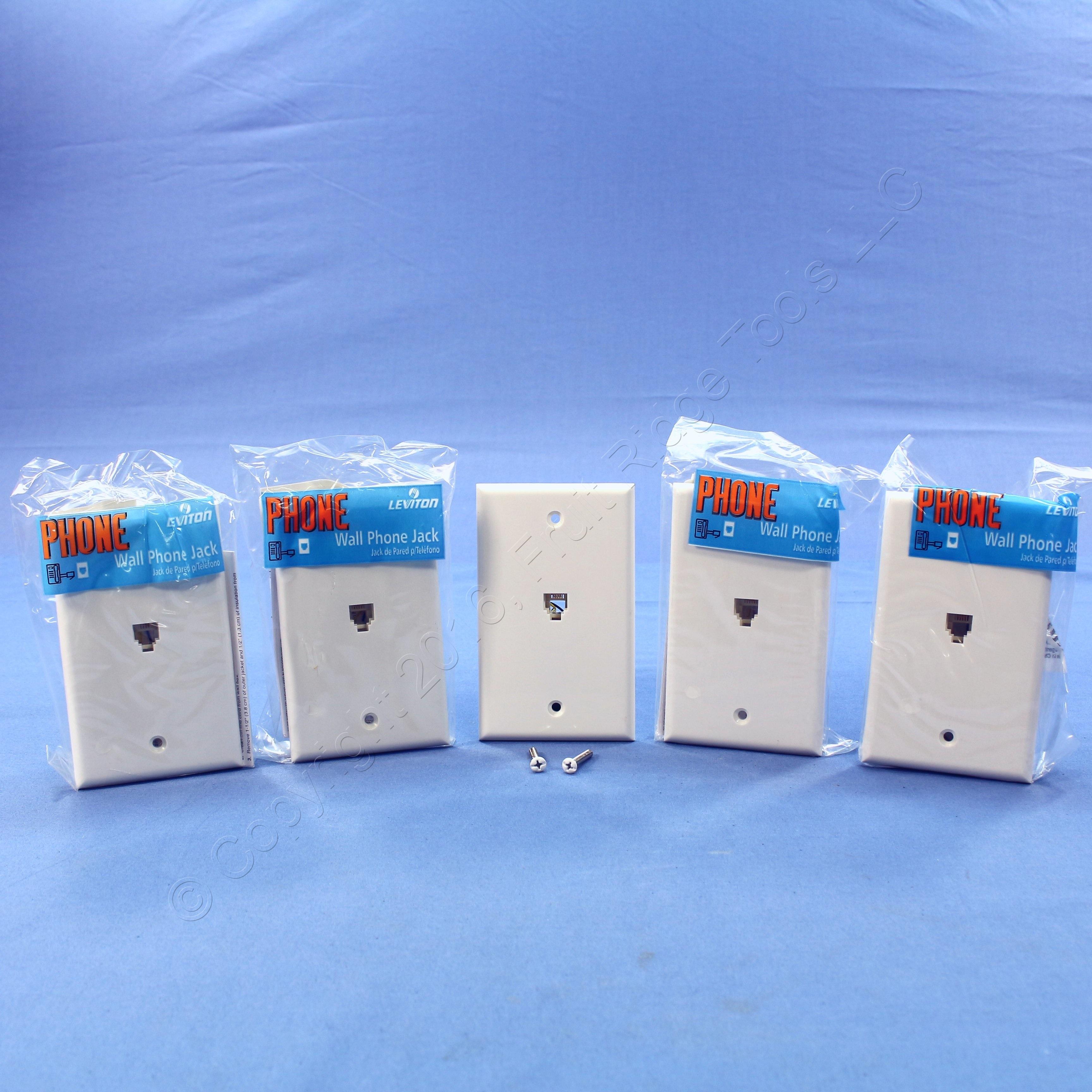 5 Nip Leviton White 4 Wire Phone Jack Wallplates Rj11 Modular How To A Telephone C0249 W