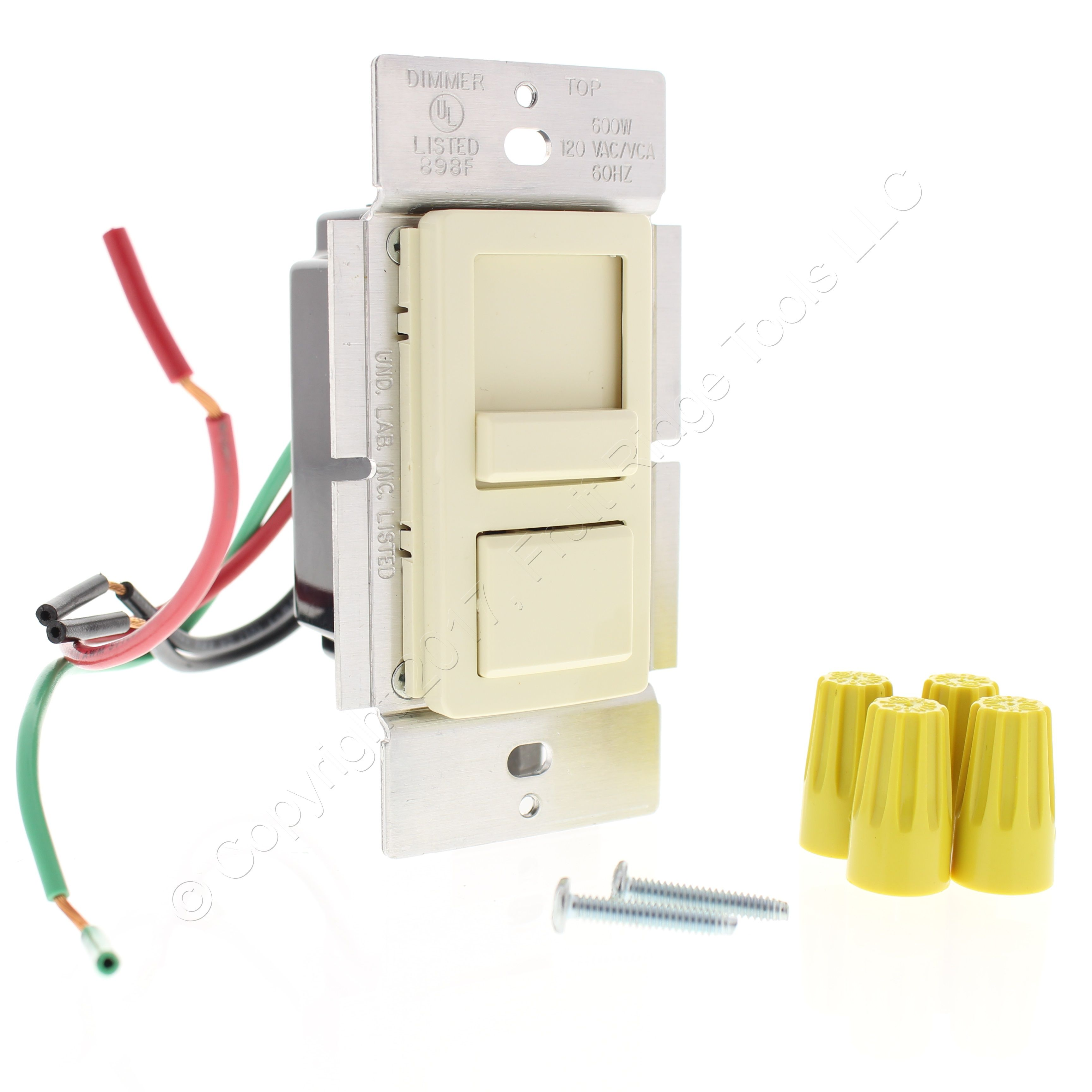 New Leviton Almond Incandescent Preset 3 Way Slide Dimmer Switch 2 Dimmers 600w Ipi06 10a