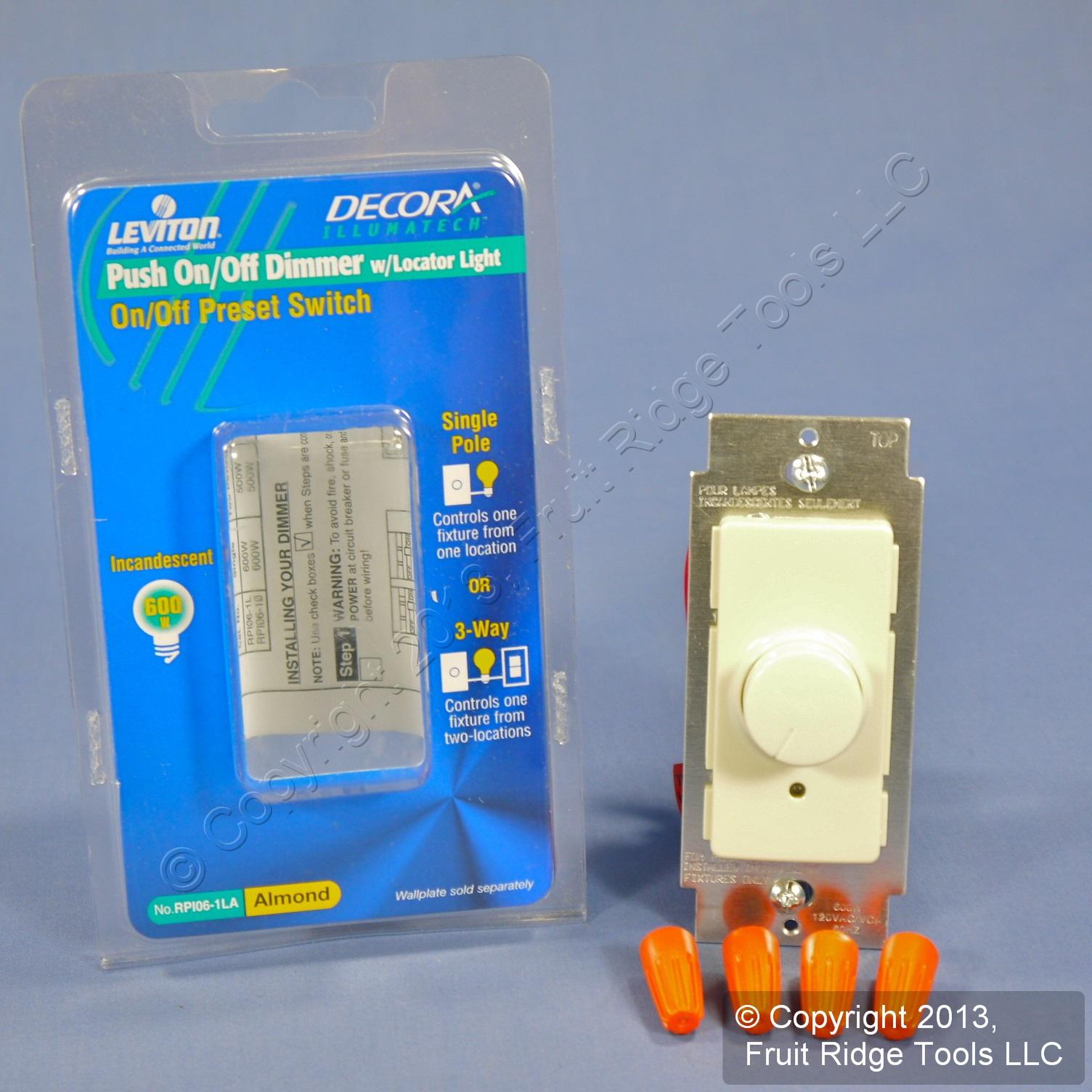 Shop Leviton Illumatech Almond Push On Off Preset Rotary 2 Pole 3 Way Slide Switch Dimmer Light Single Or 660w Incandescent Rpi06 1la Fruit Ridge Tools