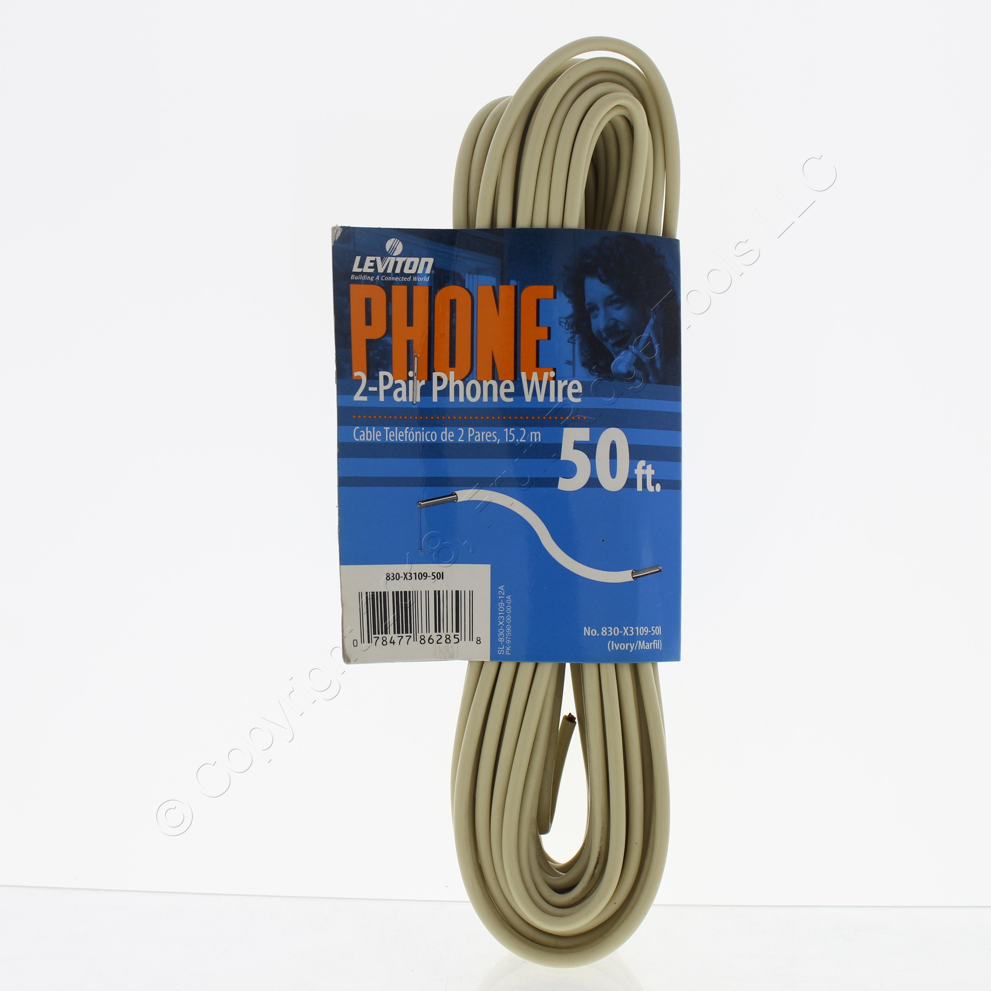 leviton 50 ft ivory 2 pair telephone wire phone cord 22 4 x3109 50i rh ebay com