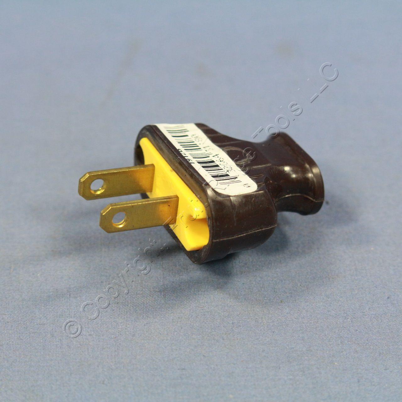Pass & Seymour Brown Non-Polarized Plug Cord End 15A 125V NEMA 1-15P ...