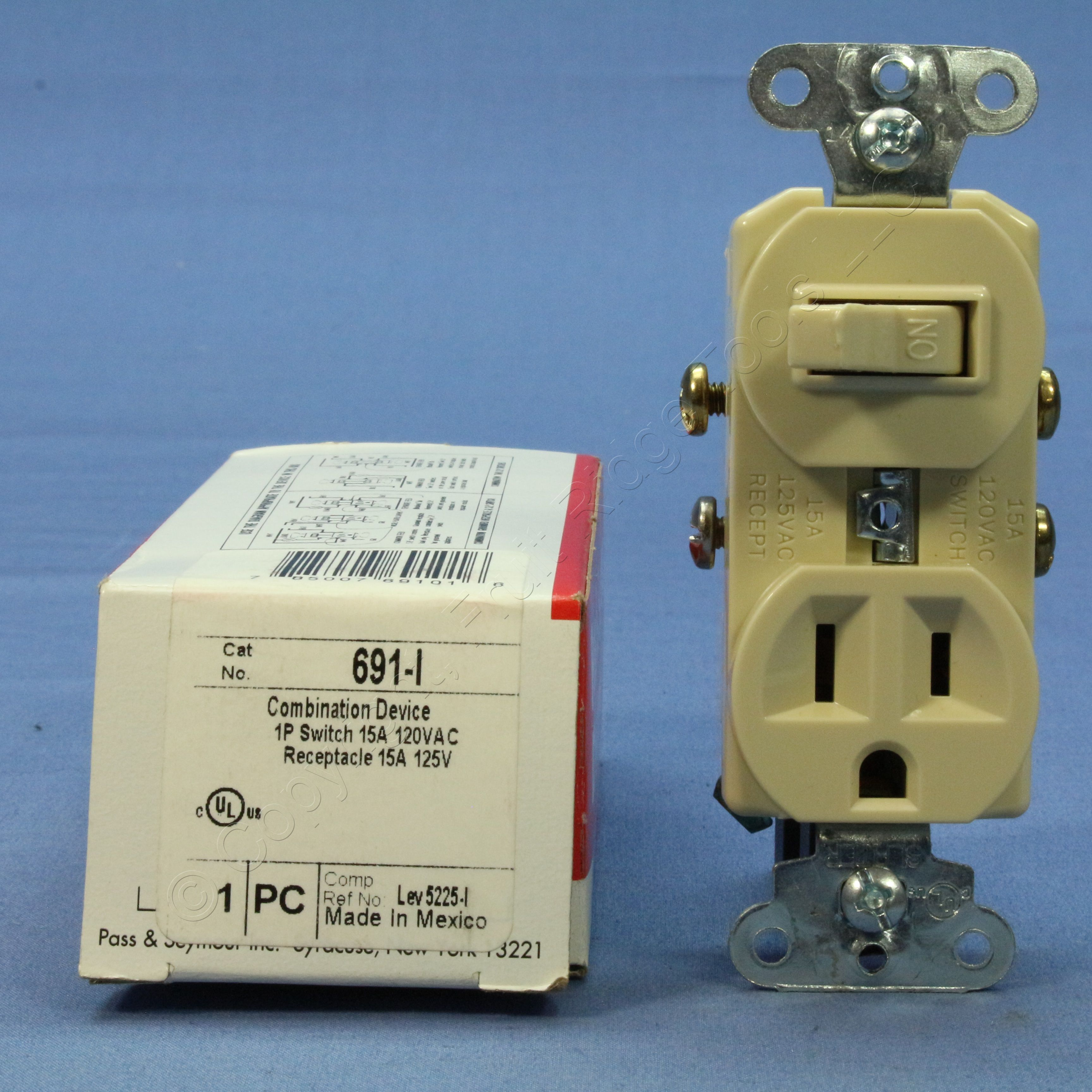 Ps Ivory Combo Toggle Light Switch Outlet Receptacle Nema 5 15r 15a And In The Same Box 691 I