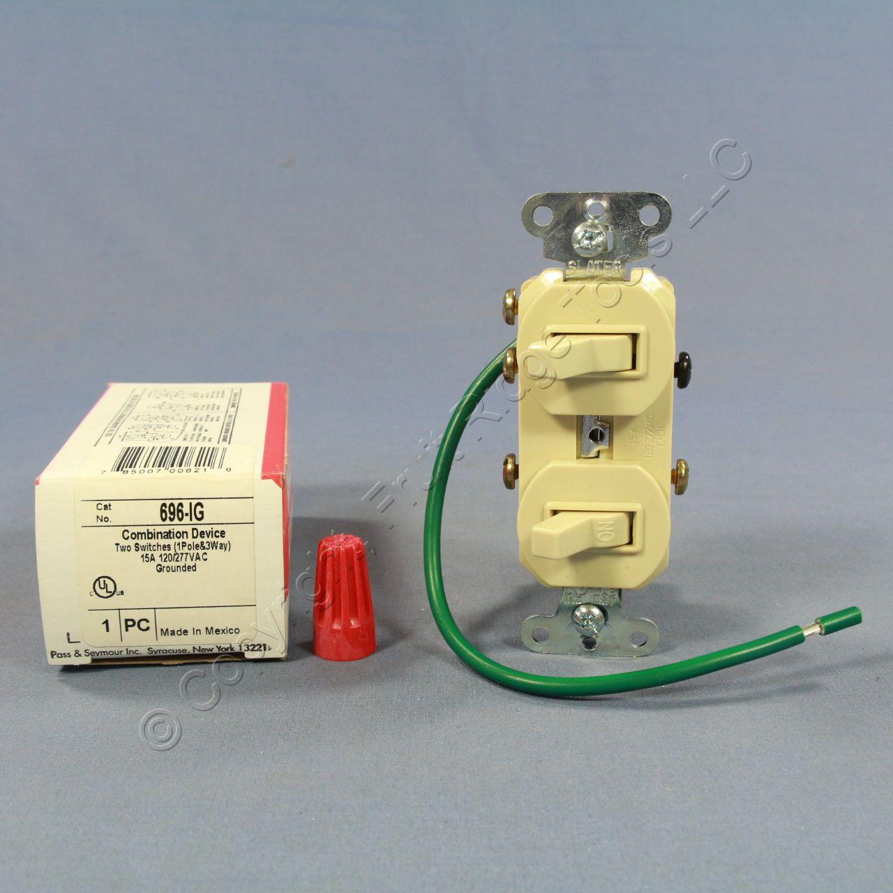 New Ps Ivory Single Pole 3 Way Toggle Wall Light Switch 15a 120 277v 696 Ig