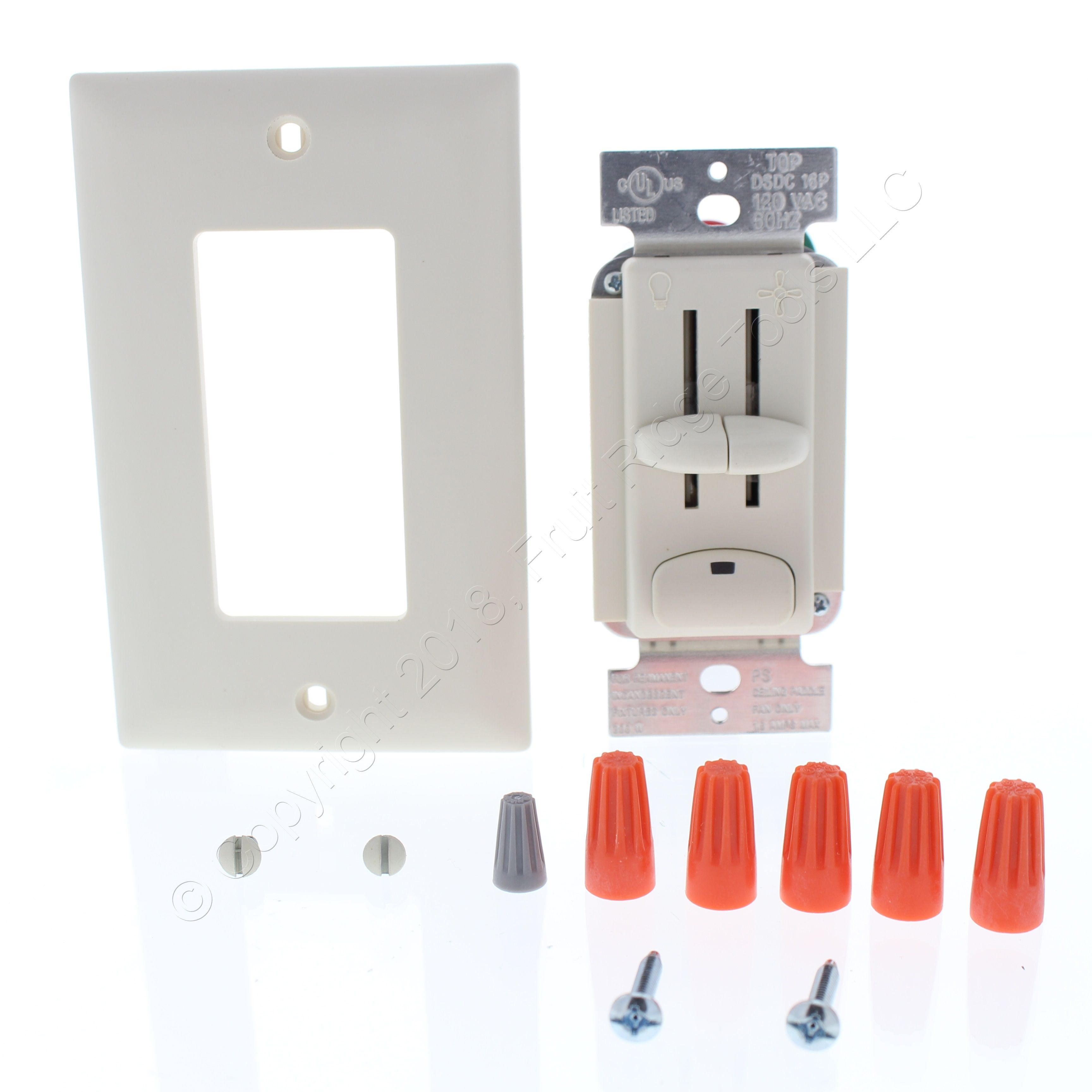 PS Lt Almond 4 Speed Ceiling Fan Preset Light Dimmer Switch 1 6A