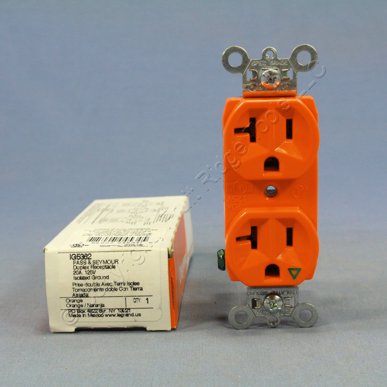 P S Orange Isolated Ground Duplex Outlet Receptacle Nema 5 20r 20a