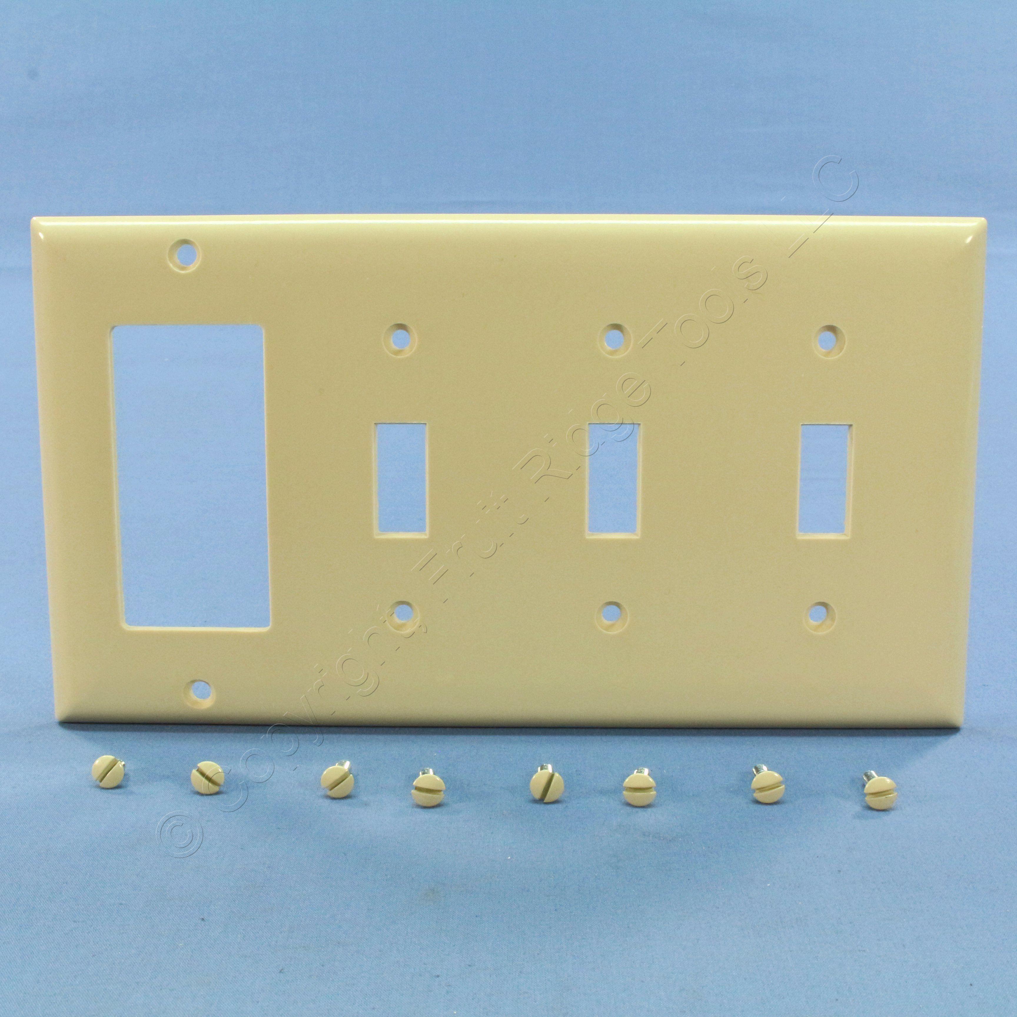 P&S Ivory 4-Gang Switch Decorator GFCI GFI Wallplate Switchplate ...