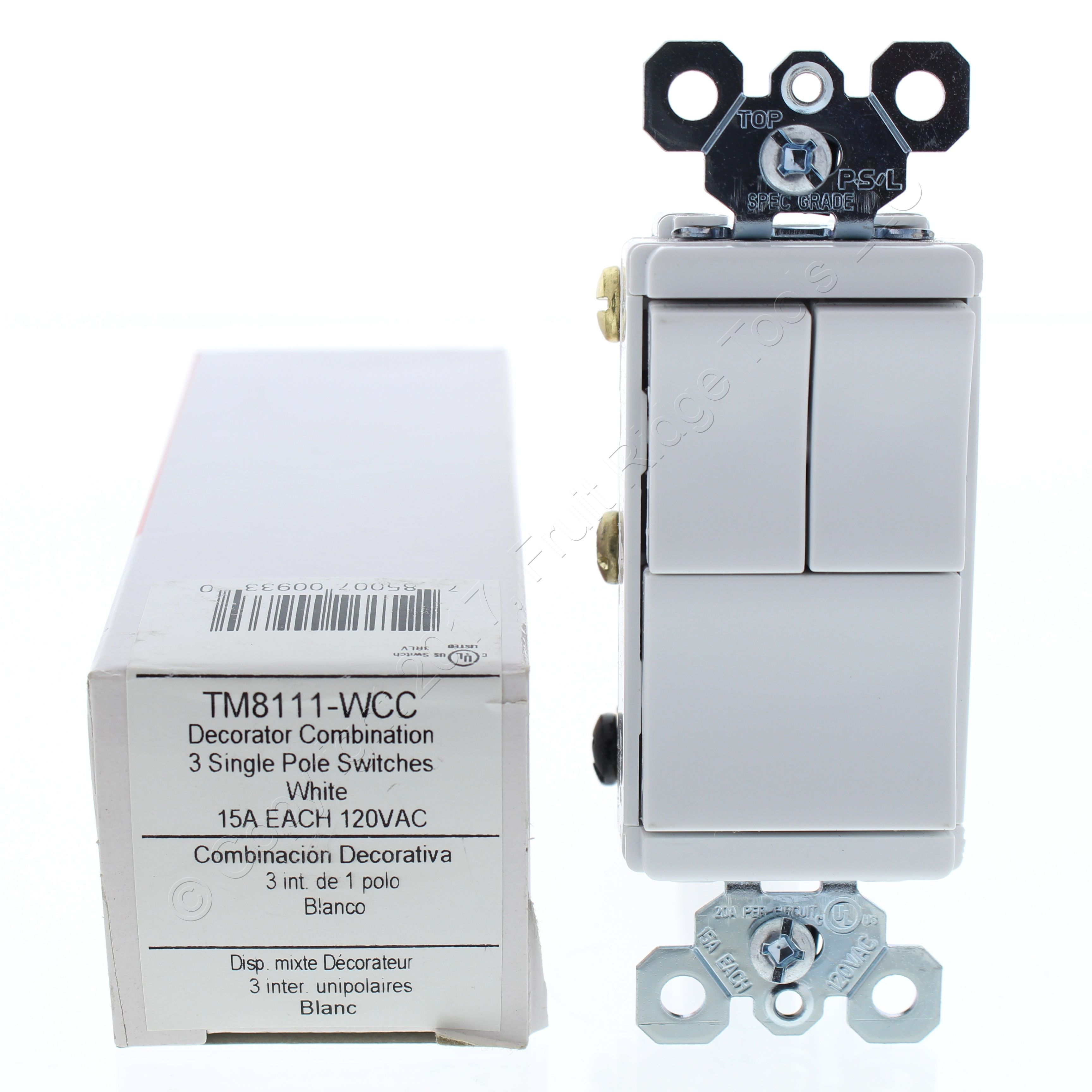 PS Single Pole White Decorator Triple Rocker Light Switch Control ...