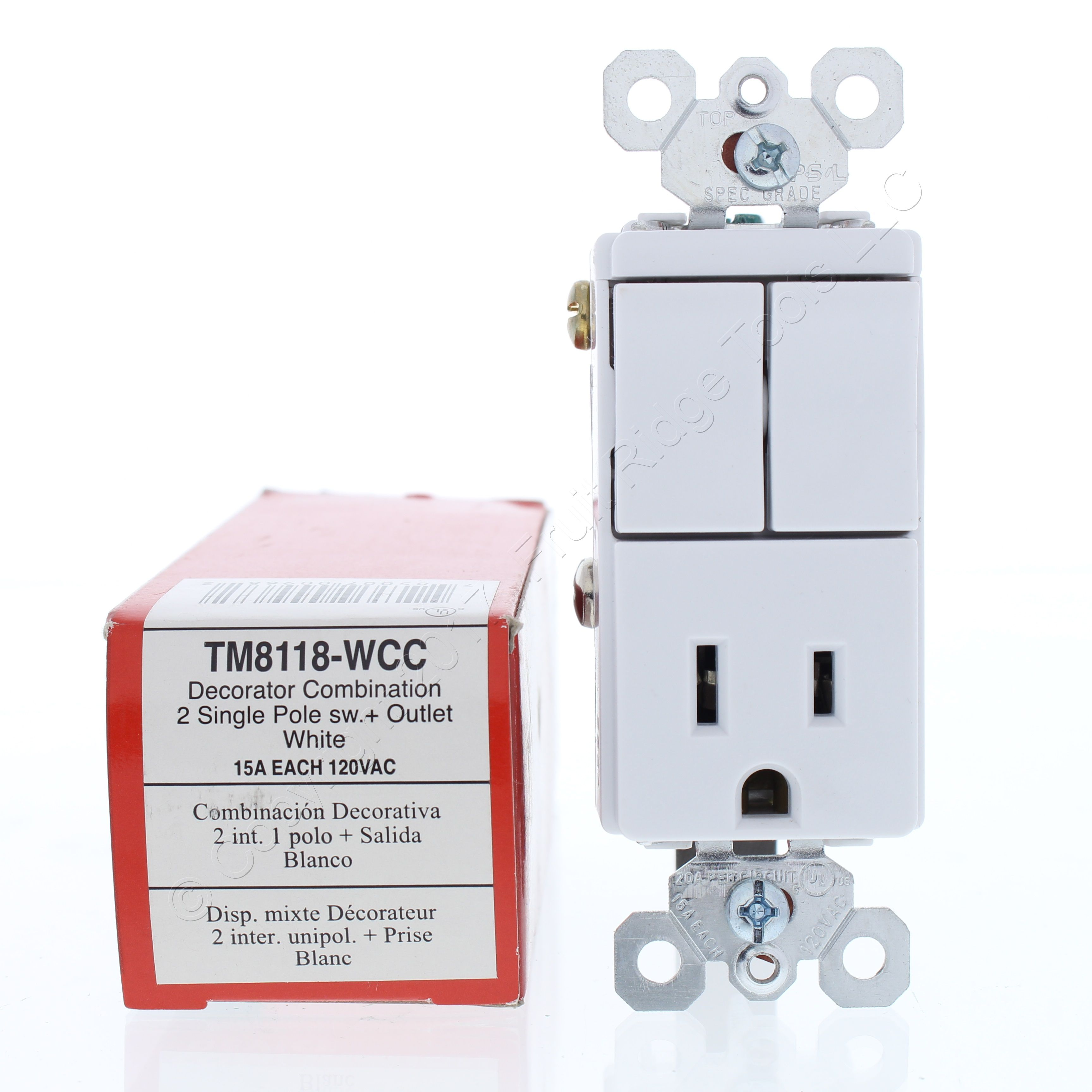 PS White Decorator Combination Dual Single Pole Switches 15A ...