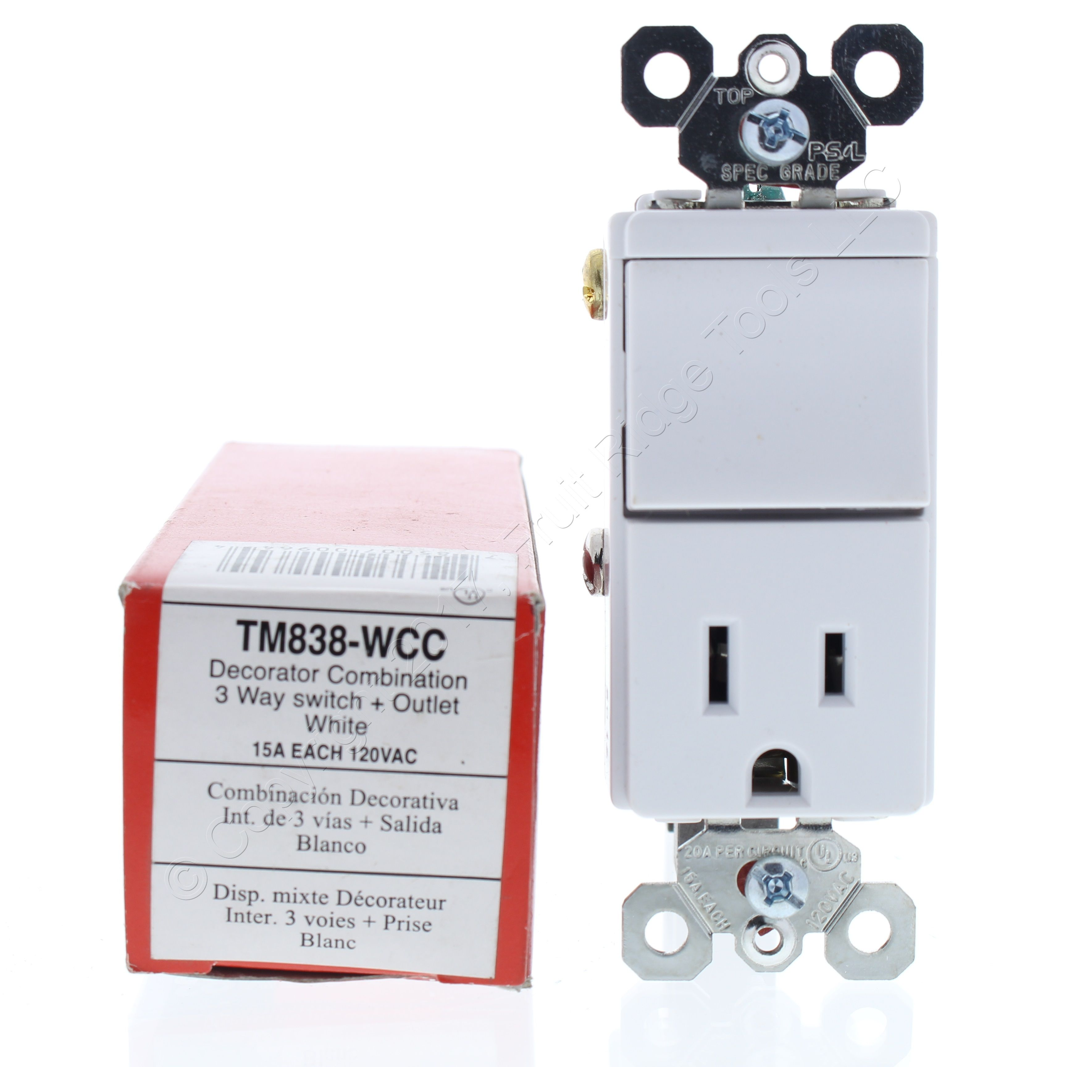 Buy Pass And Seymour White Decorator 3 Way Rocker Light Switch Outlet Straight Blade Receptacle Power 5 15r 15a 125v Tm838 W Online
