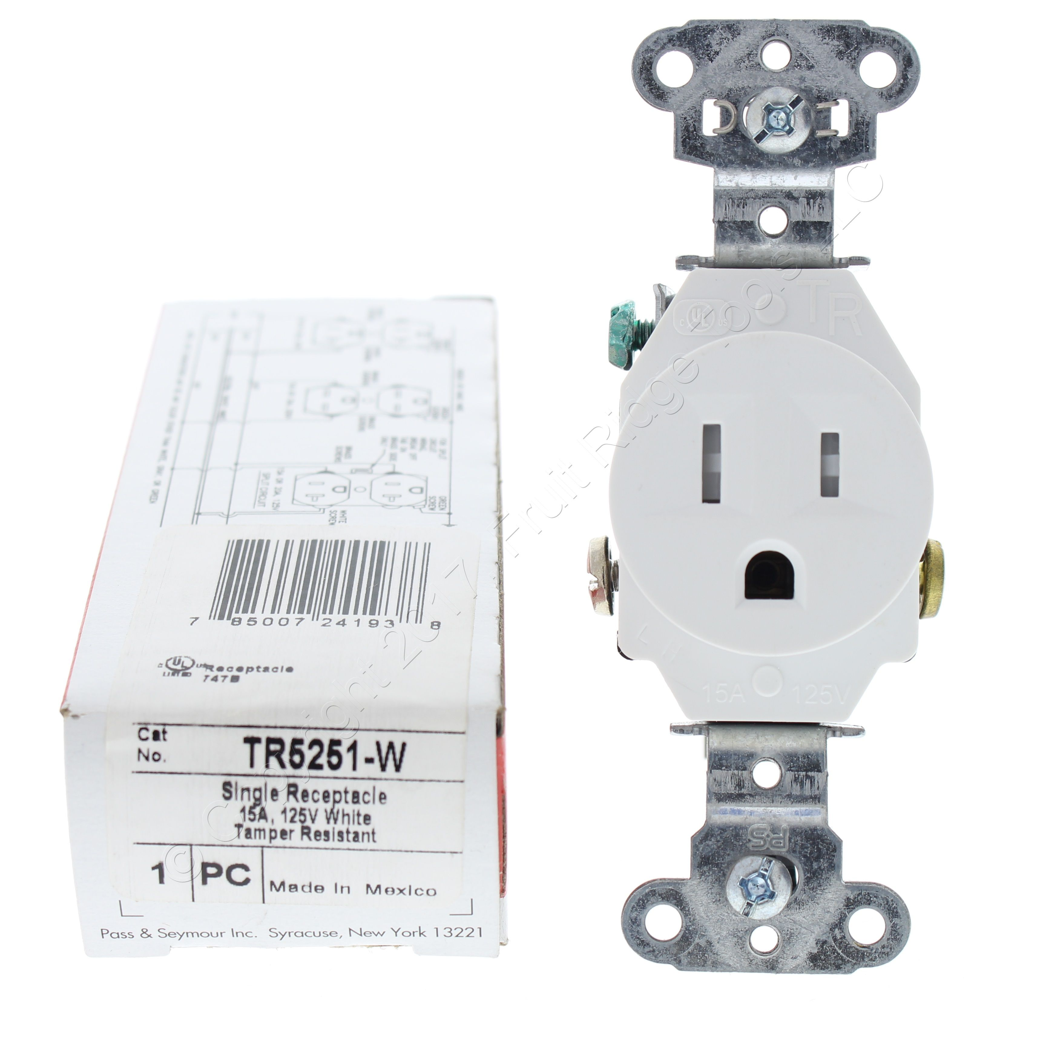 PASS /& SEYMOUR OUTLET RECEPTACLE 125V 20A COMMERCIAL WHITE DUPLEX TAMPER